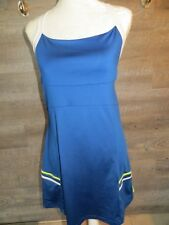 PURE LIME TENNIS DRESS M 8/10 Blue White Cross Back Shelf Bra