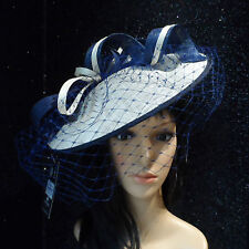 FAILSWORTH IVORY NAVY ASCOT WEDDING HAT DISC FASCINATOR MOTHER OF THE BRIDE