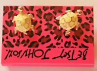 Betsey Johnson Crystal Rhinestone Enamel Turtle Post Earrings