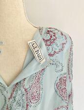 Vintage 80s AJ BARI Women's Dress Pale Baby Blue Glitter Silk Party Cocktail S M