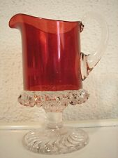 EAPG Antique Ruby O'Hara Glass Taunton AKA Scroll Cream Pitcher 1889 Creamer