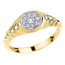 Yellow Gold Watchband Design CZ Studded Unisex Ring