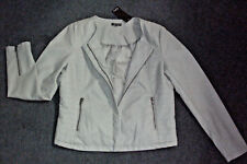 Katies: Size: 12. Modern Neutral, Synthetic-Leather Look Zip, Fully-Lined Jacket