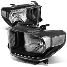 For 2014-2020 Toyota Tundra Pair Black Housing Clear Corner Headlight Head Lamp