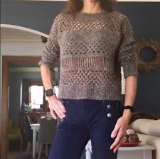 All Saints Womens 4 Brown Loose Hand Knit Crochet Crop Sweater Wool Alpaca $219