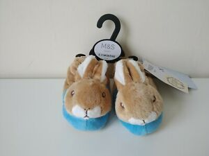 M&S Baby Rare Limited Peter Rabbit Bunny Rabbit Slippers Size 0 - 3 Months