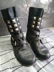 ❤️AS NEW $325❤️ MICHAEL KORS 10 41 black stud buckle ankle COMBAT leather boots