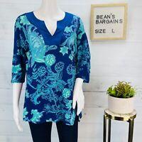 Coldwater Creek Womens Linen Top Paisley Floral Blue Green Split Neck Sz L | 14