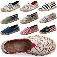 MENS LADIES  Flat Slip On Espadrilles Ladies Pumps Canvas Plimsolls Shoes Sizes