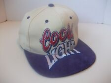 VTG Coors Light Spell Out Beer Hat Strapback Baseball Cap w/Purple Suede Bill