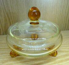 Schmuck Dose Bonboniere Kristallglas geschliffen hellgrün Bernstein D13 cm