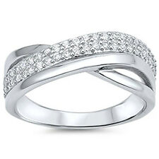 Sterling Silver CZ Fashion Women's Band Overlap Ring Size 5-9