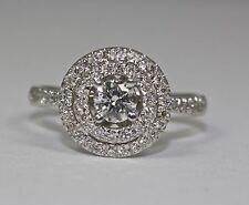 14k White Gold White Round Diamond Double Halo Round Engagement Ring Size 6