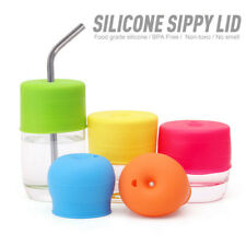 Baby Food Grade Leakproof Silicone Lids Water Straw Sippy Bottle Cup Cover