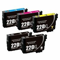 5PK Ink Use For Epson T220 T220XL XP320 XP420 XP424 WF2630 WF2650 WF2660