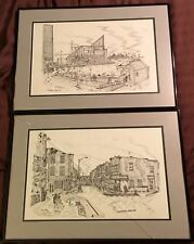 Tony DeSales * 2 Baltimore Pen & Ink Signed & Framed * Aquarium & Little Italy