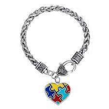 Ladies Support Autism Awareness Antique Silver Puzzle Charm Bracelet Heart