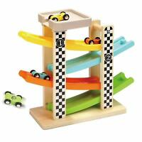 Wooden Race Track 4 Mini Cars Ramps Toddler Toys Parking Lot Sturdy Easy Storage