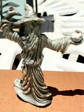 Masterworks Fine Pewter 1989 Wizard With Red Crystal Ring&Crystal Ball Figurine