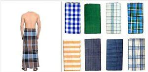 2 x Men's LARGE Sarong Lungi Dhoti cotton Fabric 100% Cotton Swimwear/Night suit