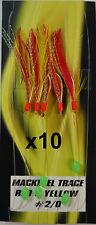 10x Red Yellow Tsunami Mackerel - Herring Feathers 5 Hook 2/0 - Bulk 10 Packs