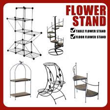 Metal Plant Stand Flower Pot Garden Corner Shelf Outdoor Indoor Display Black