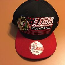 Chicago Blackhawks New Era 39Fifty Snap back Embroidered Red Black Hat Cap flaw