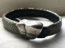 Stingray Leather & Sterling Silver Ladies Bracelet Designer Lou Guerin 8-9 Inch