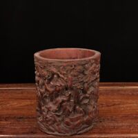 """6"""" China old antique bamboo carving 18 arhats Pen container pen pot"""