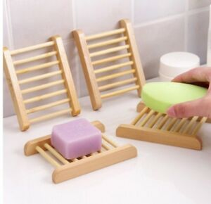 Natural Wooden Bamboo Soap Dish Tray Holder Storage Soap Rack Plate Box