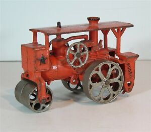 LARGE ca1930 CAST IRON HUBER ROAD CONSTRUCTION STEAM ROLLER By HUBLEY Mfg. Co.