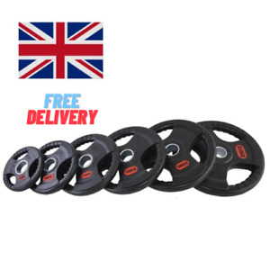 """Olympic Tri Grip Weight Plates Set Discs 2"""" Cast Iron Rubber Home Gym Fitness"""