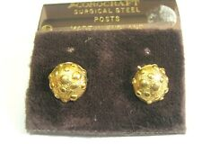 Lovely gold tone metal stud style earrings 'knobbly' half globe design 8 mm wide