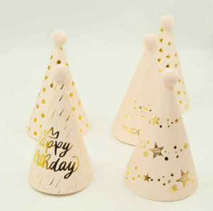 5x Pink/Gold Patterned Happy Birthday Party Hats With Pom Poms Paper Crowns Kids