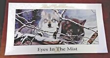1998 Print Nwtf Edition Signed Eyes In The Mist by Daniel Pierce Wolf Wolves