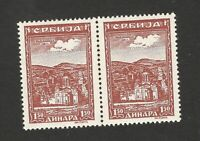 GERMANY OCC SERBIA -MNH PAIR, MONASTERY, 1.50- MORE PLATE ERRORS -LOOK SCAN-1942