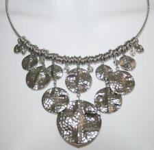 Premier Designs Silver Necklace Silver Tone & Crystal Disc Pendants
