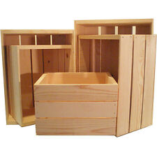 Natural Pine Crate Wooden Box Rustic Storage Unfinished 5 Pack Package Wood