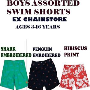 BOYS SWIM SHORTS WITH BUCKLE EX CHAINSTORE AGES 3 YEARS TILL 15 YEARS