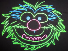 Muppets Animal Drummer Character Neon Outline Black Graphic T-Shirt - S