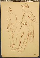 John Fenton c.1950 ink wash painting Black man GI soldier Woodstock NY artist