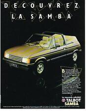 PUBLICITE ADVERTISING  1984   TALBOT SAMBA  cabriolet