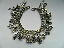 NEW Stunning Handmade Silver Harry Potter  Chain Bracelet with 29 Charms d