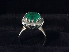 GIA CERTIFIED 4.89CT Natural Oval EMERALD 14K W/Gold & Diamond Ring! Stunning!!!