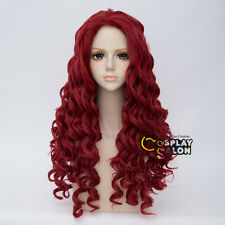80CM Retro Lolita Long Red Curly Fashion Afro Cosplay Wig Heat Resistant+Cap