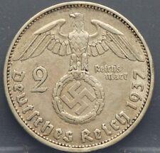 Deutsches Reich - 2 Mark 1937 A Hindenburg Swastika - KM# 93. Silver.