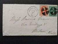 New York: Herkimer 1878 (circa) 2c & 3c Banknote Cover to Italy