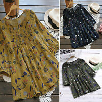 Women Boho Floral Loose Top Shirt 3/4 Sleeve Cotton Linen Plus Size Tunic Blouse