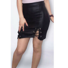 New Womens Wet Leather Look Mini Skirt Ladies Eyelet Lace Tie Short Size 8-16
