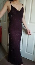 Etam Dark Brown Embellished Long Party Dress. Uk14.Wedding/Maxi/Prom/Evening £80